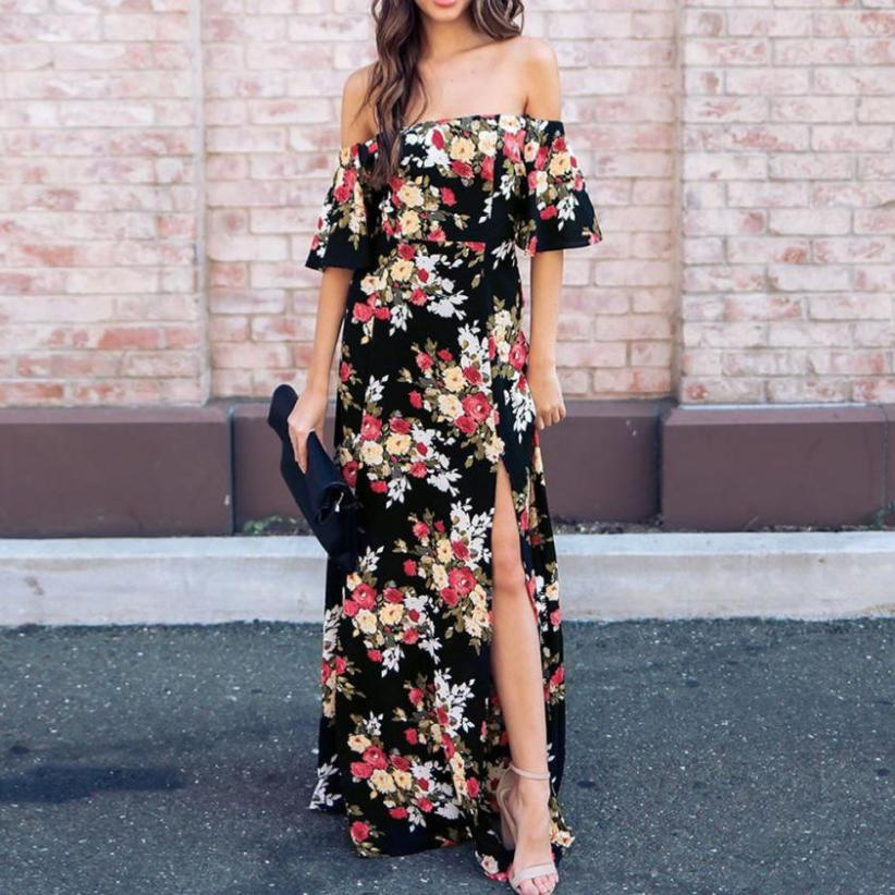 Womens Long Dresses Short Sleeve Off The Shoulder Flower Print Vintage Dresses Split The Fork Maxi Dress #VE