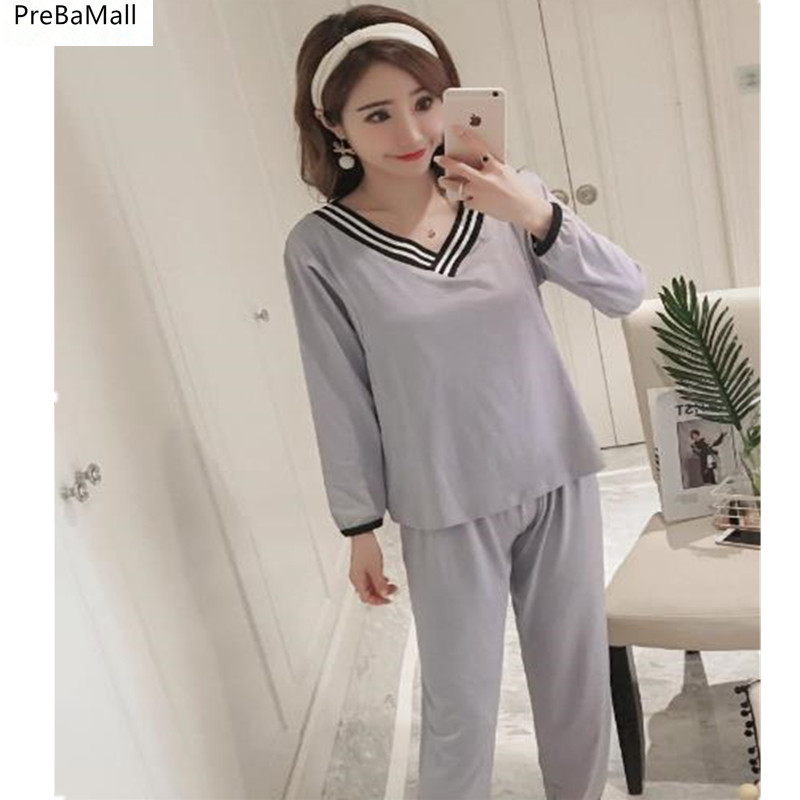 2018 Pregnant Pajamas Autumn Long Sleeve Maternity Clothes For Nursing Mothers Maternity Sleepwear Nightie For Feeding B0449