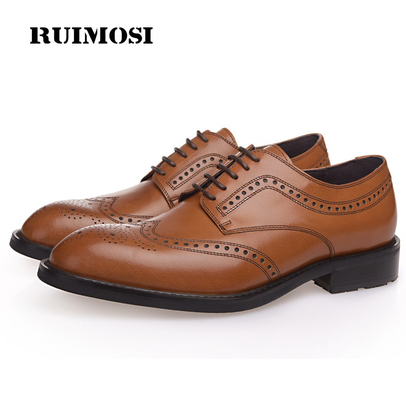 RUIMOSI Fashion Luxury Brand Man Formal Dress Shoes Vintage Genuine Leather Brogue Oxfords Round Toe Men's Wing Tip Flats AD61