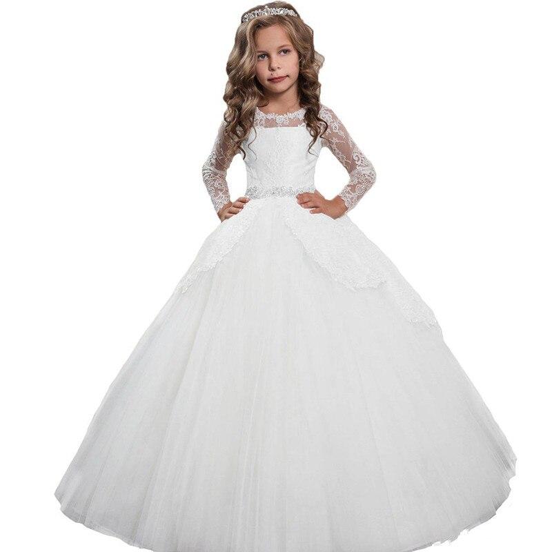 Nouvelle robe de bal blanche robe de fille de fleur pour la fête de mariage à manches longues dentelle perlée enfants filles première Communion robe robe d'anniversaire