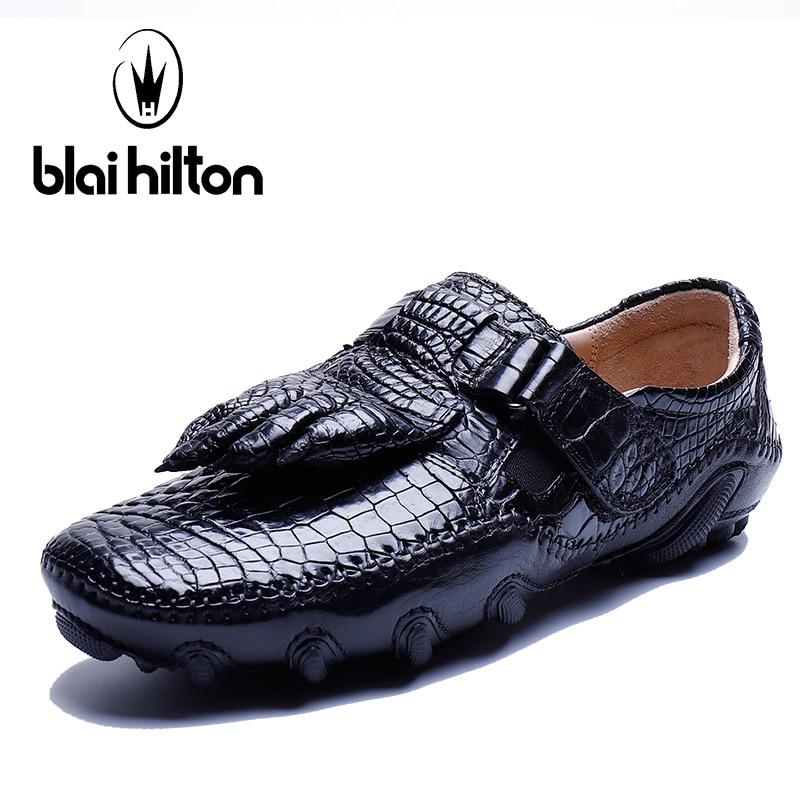 Blai Хилтон 2018 Новое поступление Лидирующий бренд 100% из натуральной коровьей кожи Для мужчин повседневная обувь роскошные скольжения на крок...