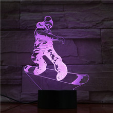 Bedroom Decorative Led Night Light Sport Snowboarding 3d Illusion Led Table Lamp Touch Sensor Base Nightlight for Kid Gift Child dandelion unicorn 3d led nightlight wood base with music box dimming remoting switch little girl gift bedroom deco lamp iy804015