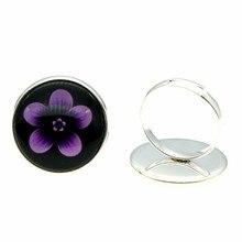 20mm Black Background Flower Glass Cabochon 2 Colors Antique Bronze & Shiny Silver Color Handmade Adjustable Rings