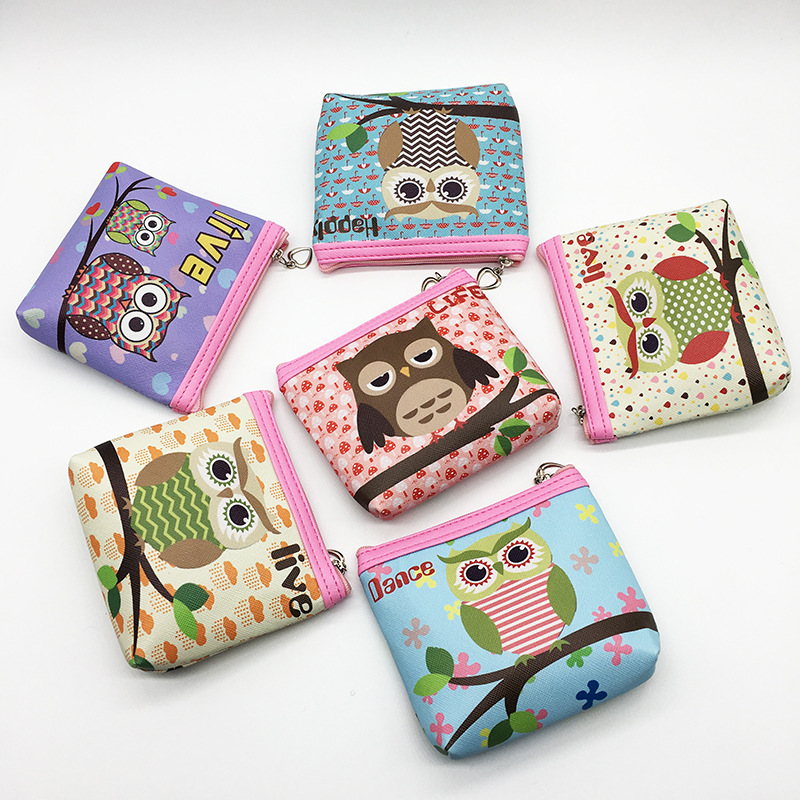 2017 New Coin Purse Women Cartoon Cute Printing Owl Pu Leather Change Purse Wallet Bag Girl Kids Card Money Pouch 2017 new fashion design women cute pu leather change purse wallet bag girls coin card money pouch portable purse small bag jan12