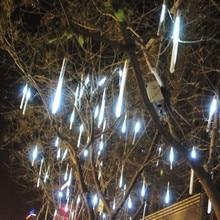 цены 8pcs/set Multi-color 30CM Meteor Shower Rain Tubes AC100-240V LED Christmas Lights Wedding Party Garden Xmas String Light