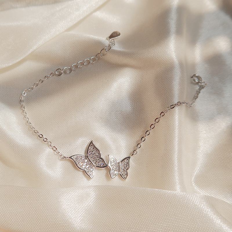 ANENJERY Exquisite S925 Stamp Silver Color Micro Zircon Butterfly Tassel Necklace+Earring+Bracelet For Women Jewelry Sets