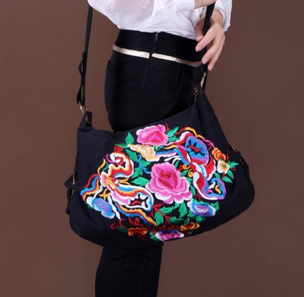 Hand embroidered hmong retro flower beads canvas handbag shoulder bag