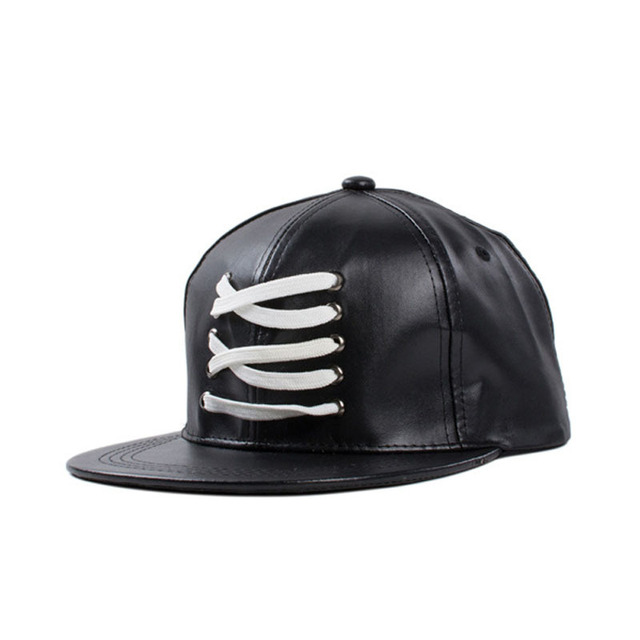 High Quality Black Faux leather cap Street Fashion for Men Women Spring Summer Hip Hop Brand Hats Snapback Baseball Caps