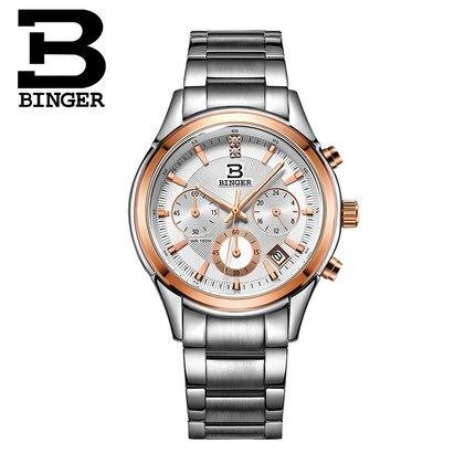New Switzerland Binger watches men luxury quartz Watch waterproof full stainless steel Chronograph Man  Wristwatches