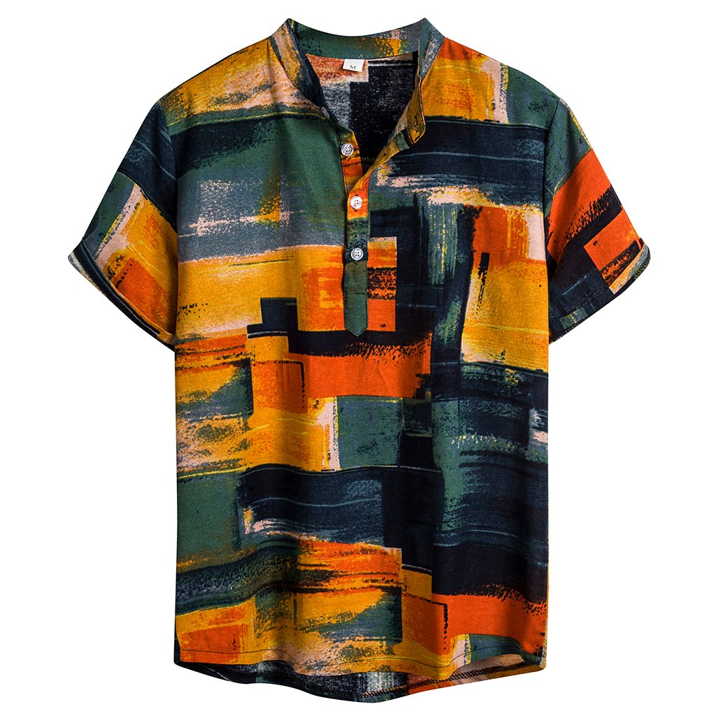 Summer Plus Size Men Ethnic Short Sleeve Casual Cotton Linen Printing Hawaiian Shirt Blouse M-XXXL Camisa Masculina Streetwear