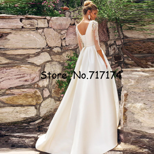O-neck 3/4 Sleeves Beading Applique Satin A-line Wedding Dress with Pleat Belt Sweep Train Lace-up High Quality Bridal Dress 2