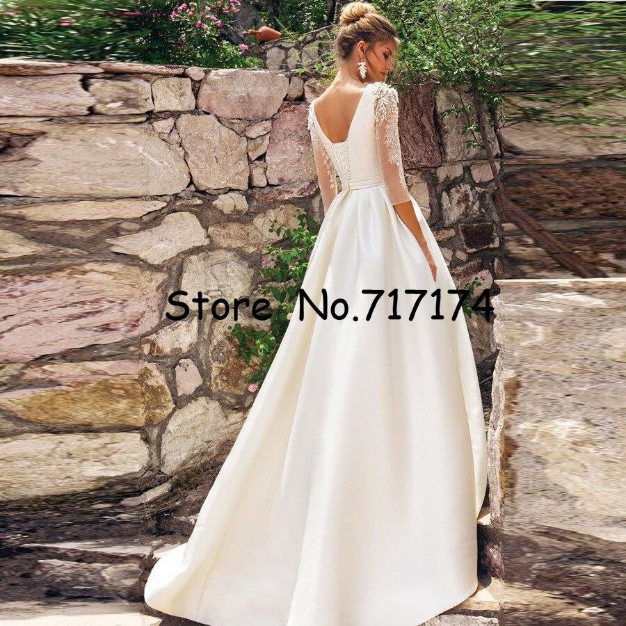 O neck 3/4 mangas miçangas applique cetim a linha vestido de casamento com cinto plissado trem de varredura laço up vestido de noiva de alta qualidade - 2