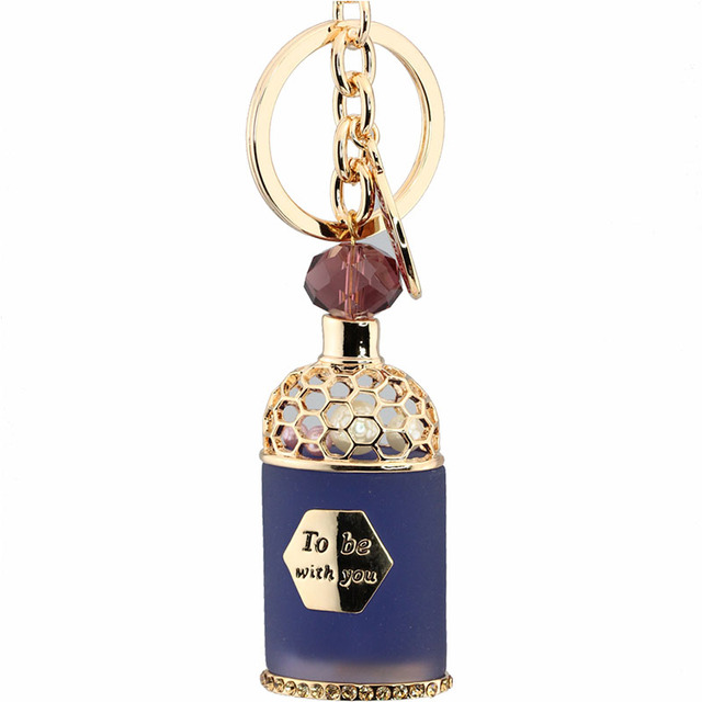 Rhinestone Blue Resin Pearl Perfume Bottle Keychain Gold Chain Keyring Gift For Girls Handbag Charm Key Holder Wholesale
