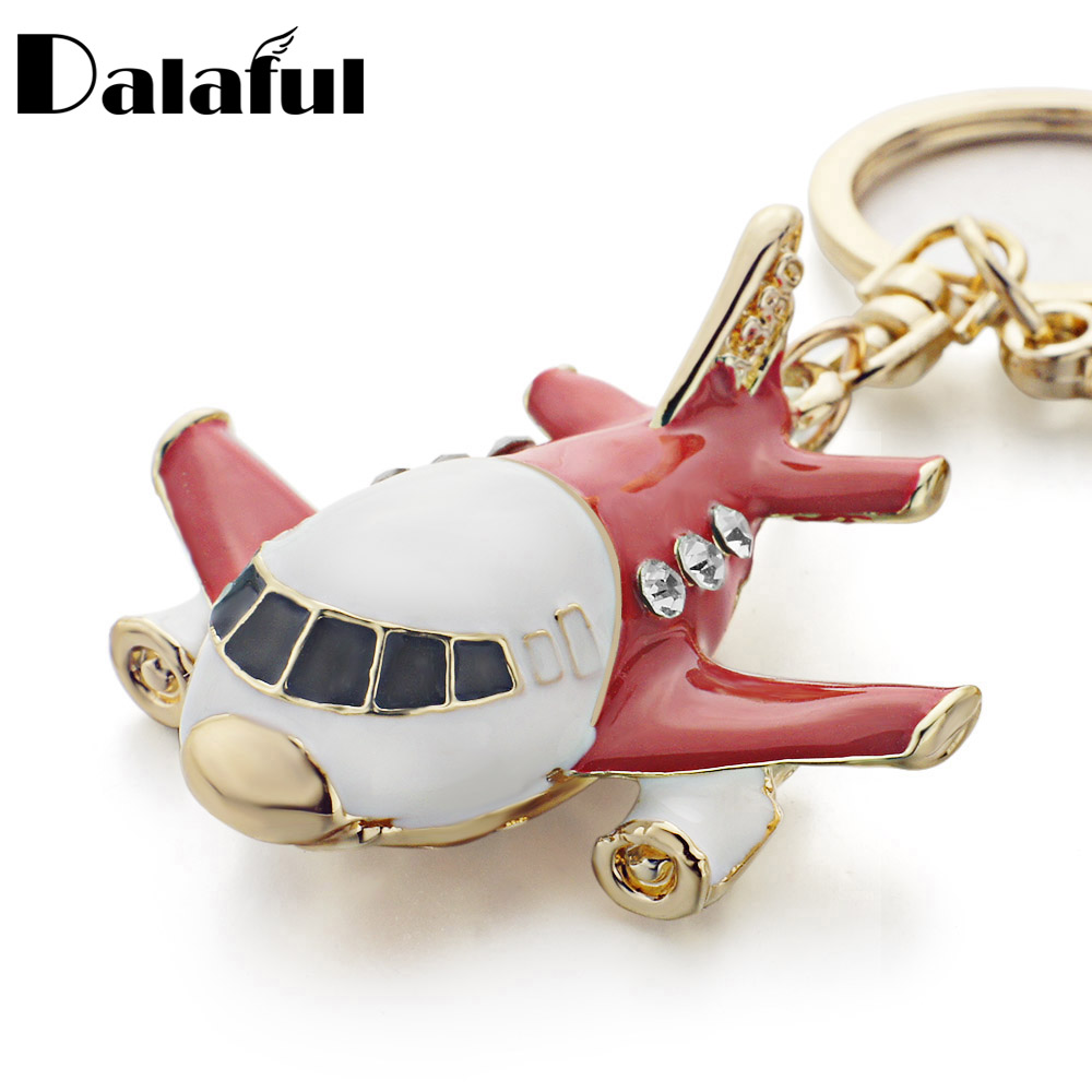 Dalaful Vivid Enamel Aircraft Plane Crystal Keyrings Keychains Purse Bag Pendant Key Chains Holder Rings For Car K313