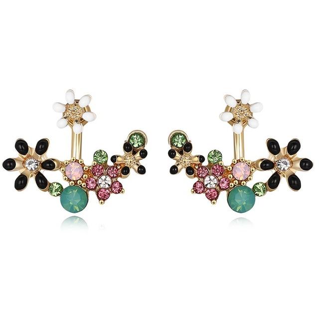 Crystal Stud Earrings Irregular Hollow Leaf Flower For Women Small Ear Jacket Clips