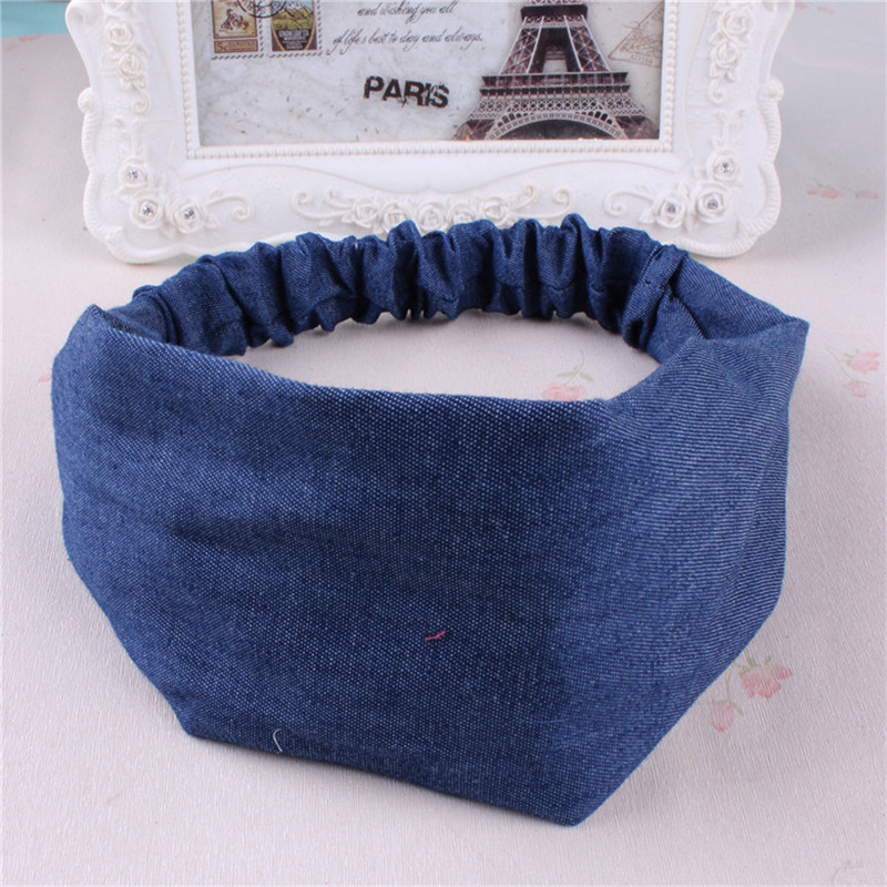 Hairband Korean version of hair ornaments denim cloth headband small fresh hair hoop hand head jewelry wholesale korean hair jewelry bow hair hoop headband free home delivery