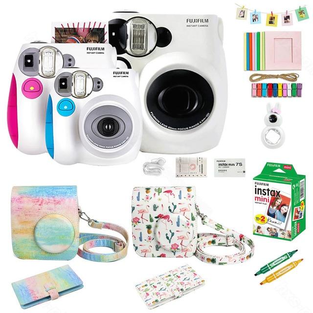 Fujifilm Instax Mini 7s Film natychmiastowy kamera i zestaw akcesoriów, w tym Mini Film, etui, Album fotograficzny, soczewki zbliżeniowe Selfie ect.
