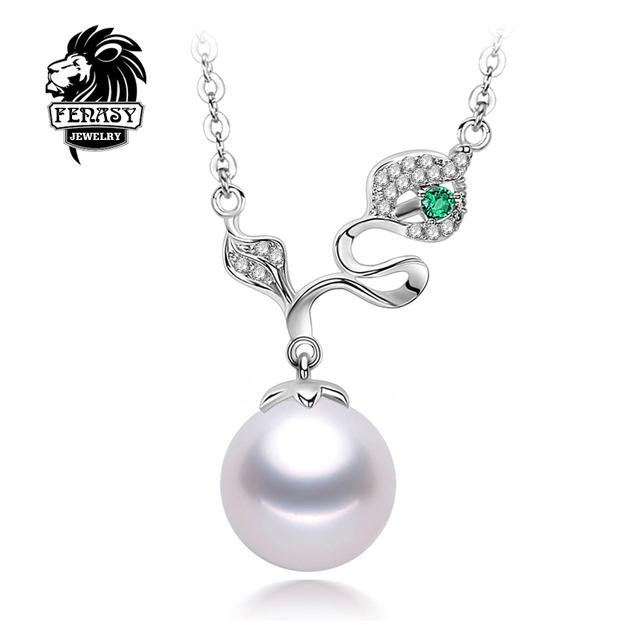FENASY ronda perla collares clásicos de Alta Calidad de La Perla Colgante De la Muchacha 925 Plata de la joyería 8-9 MM Perla Natural Collar de gargantilla