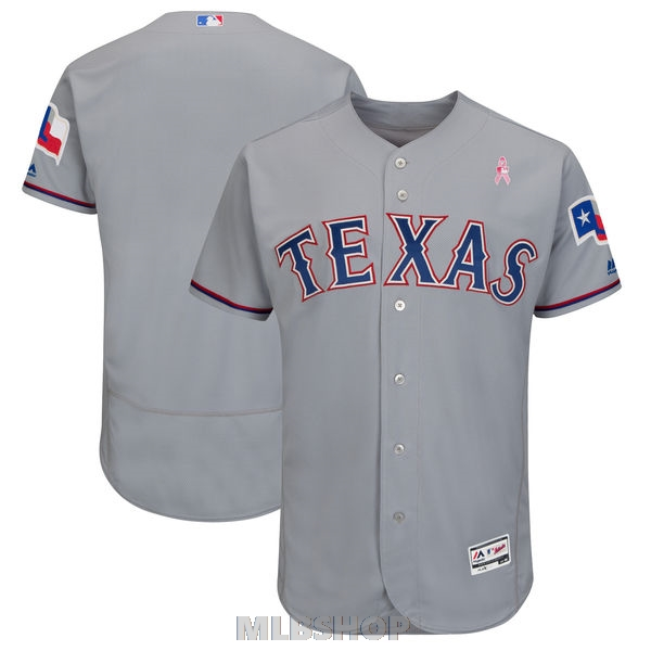 Mens Texas Rangers Majestic Gray 2018 Mothers Day Road Flex Base Team Jersey