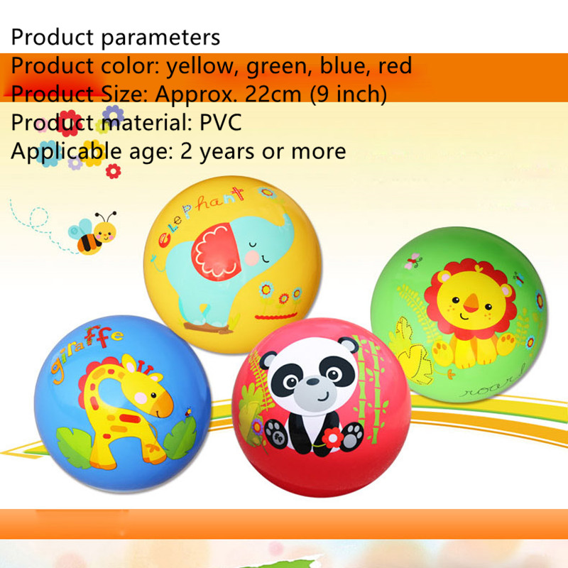 22cm Baby Play Ball Toys Colorful Cartoon Animal PVC Ball Children Ball Toys Inflatable Bouncing Ball Sport Toys Good Quality