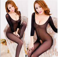 Sexy Lingerie Perspective Women Coveralls Socks Temptation Black Lace Halter Open Crotch Sexy Body Stockings Sex