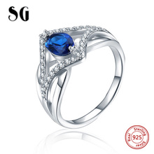 SG Authentic 100% 925 sterling silver Luxury Sparkling Blue & White cubic zircon Finger Ring for Women 2019 wedding Jewelry iwish halloween wind up on the chain jump ghost white human skeleton jumping human skull for children toys all saints day gift