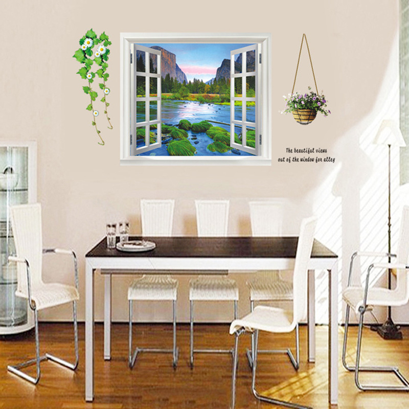 D Effect Window Landscape Wall Stickers Living Room Bedroom Wall - 3d effect wall decals