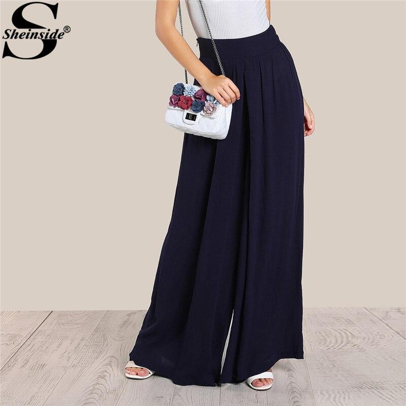 Sheinside 2018 Spring Loose High Rise Super   Wide     Leg     Pants   Navy High Waist Zipper Fly Plain Long   Pants   Women Vacation Trousers