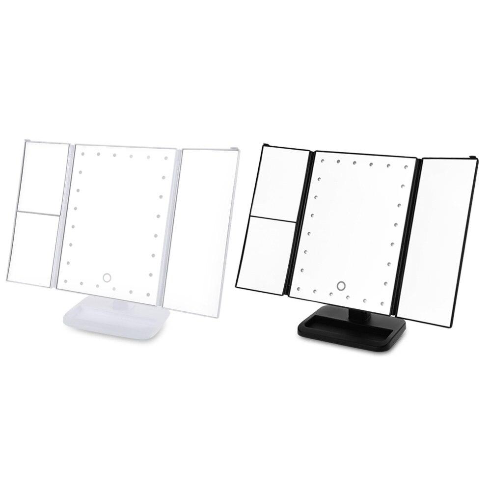 Tres Lados Espejo de Maquillaje Plegable 24 Luces LED Regulable ...