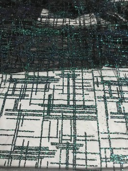 beautiful beads curtain pattern with Full Glued Glitter Sequins dress Fabric dark green French tulle Lace Fabric