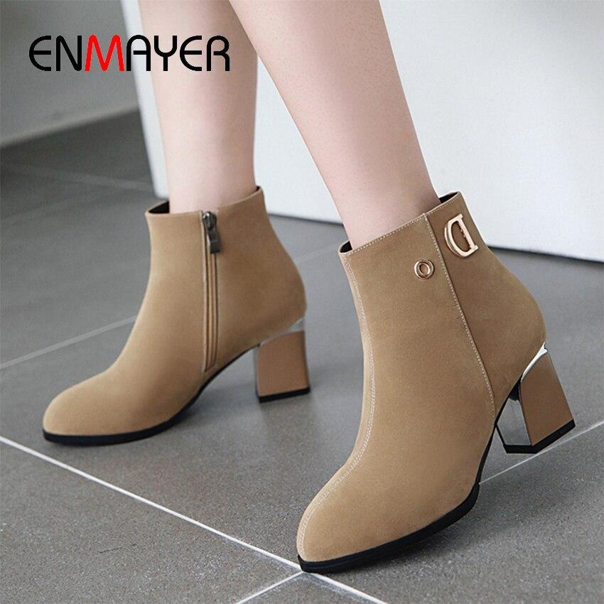 ENMAYER Super High Square Heel Cow Suede Ankle Boots for Women Flock Spring Autumn Short Plush Solid Winter Shoes Women Boots in Ankle Boots from Shoes