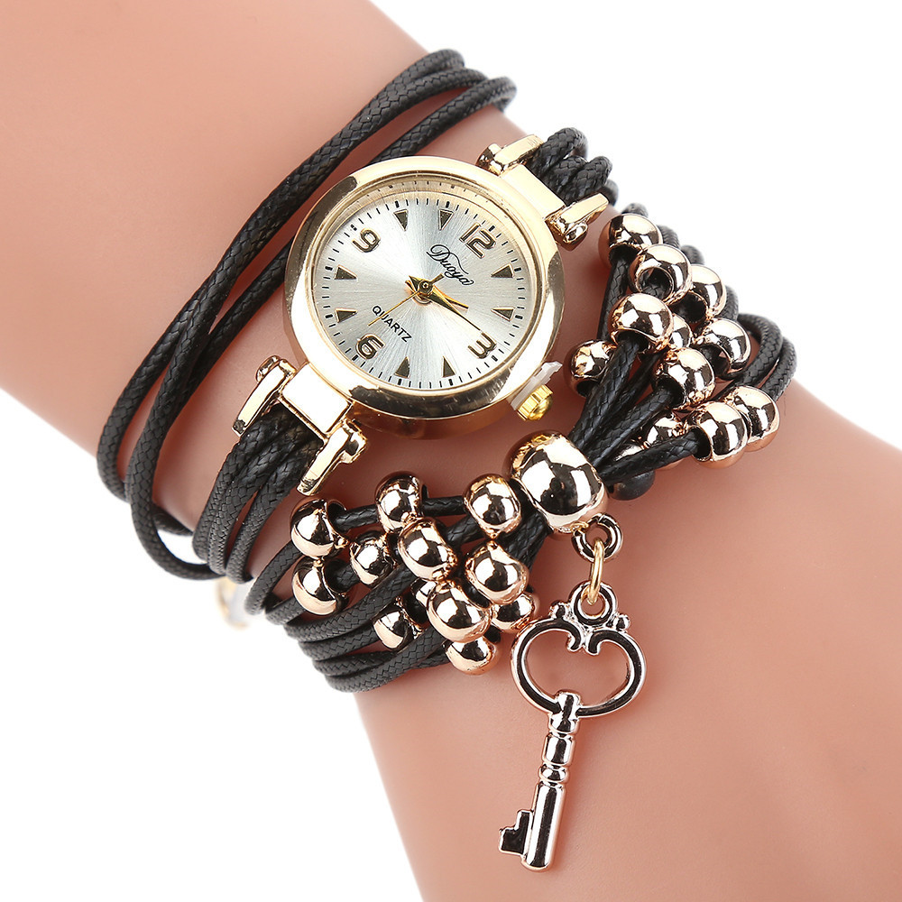 Duoya Brand Watches For Women Fashion Simple Gold Beads Charm Bracelet Quartz Watch Luxury Key Pendant Dress Woman Clock Watch