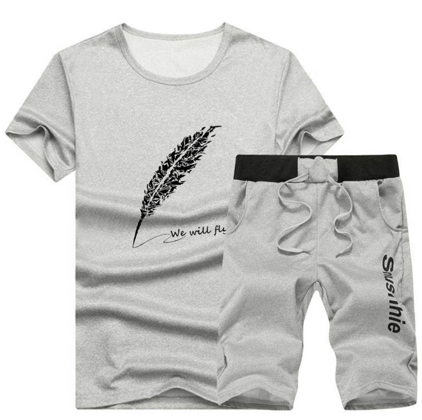 12 Colors M-4XL Teenagers Set Men Summer Clothing Set Fashion Casual O-Neck Male T- Shirt+Shorts Clothes Set Tracksuits