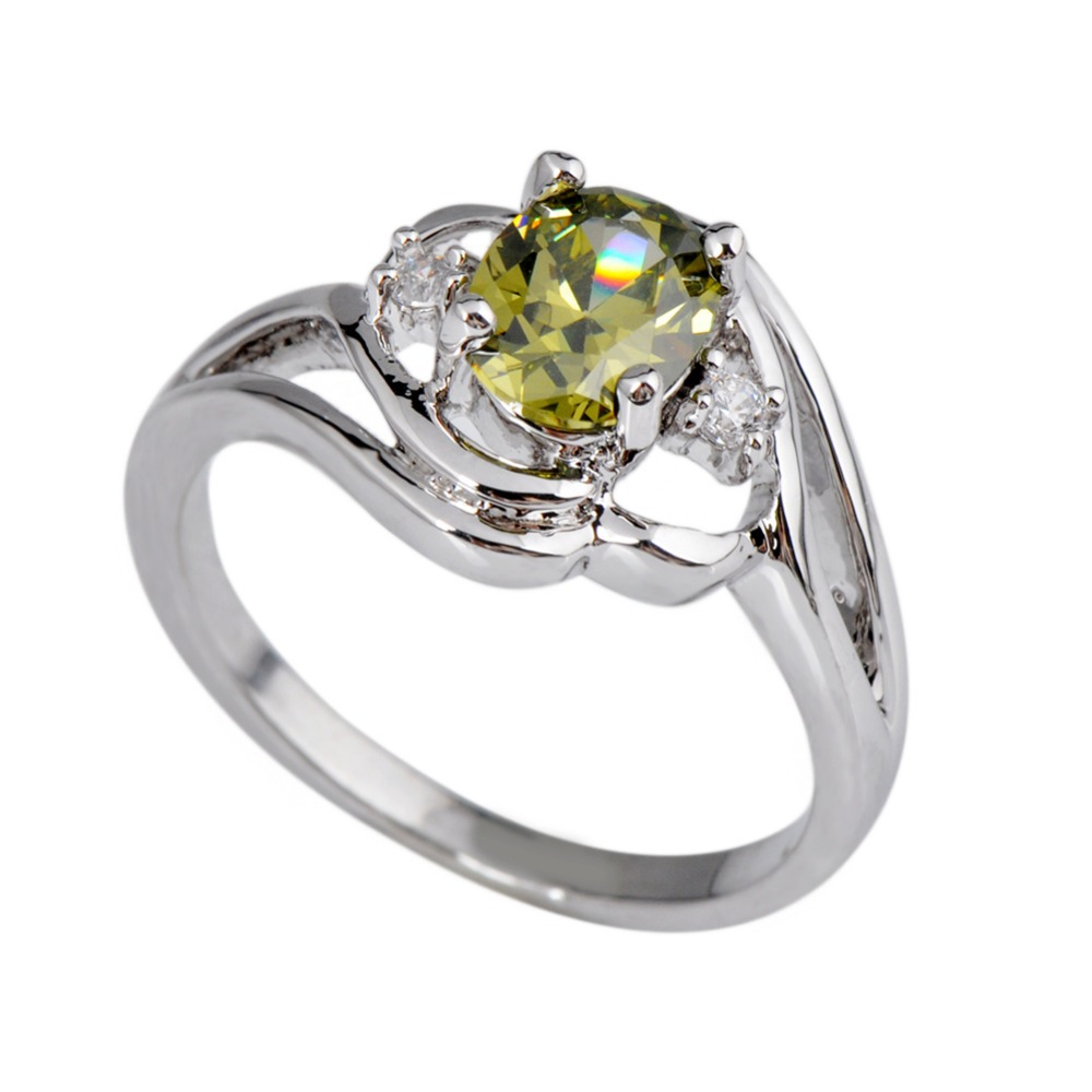 Women Fashion Rings Peridot Olive Green Oval Ring 14kt White Gold Plated  Jewelry Engagement Rings For