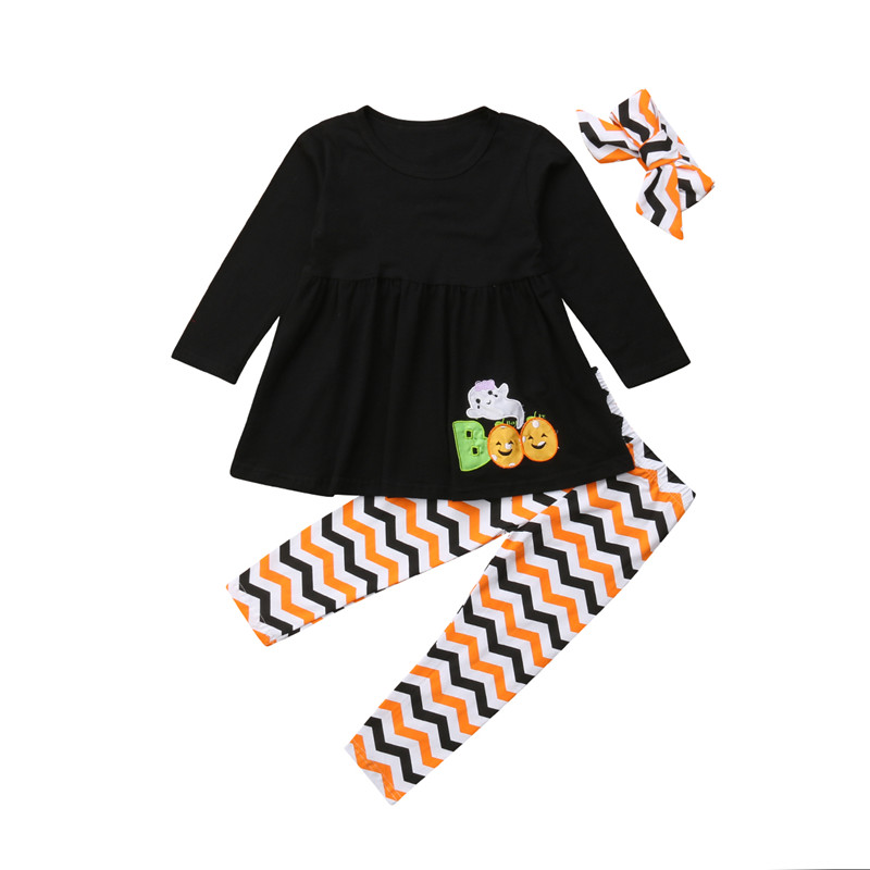 Halloween Toddler Kids Baby Girl Cotton Top Dress Pants Leggings Outfits Clothes