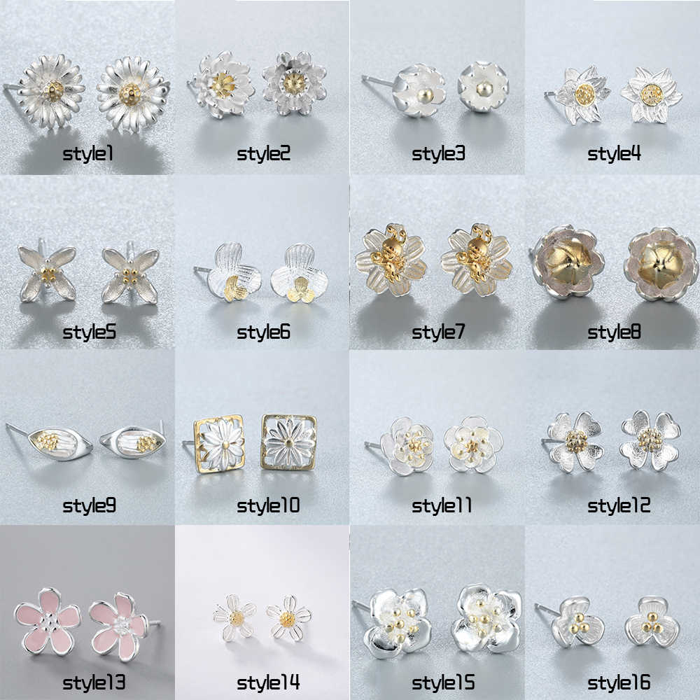 Chereda   Flower Shape Stud Earring Female Classic Earrings Set Wedding Party Minimalism stud Ear Wholesale Jewelry