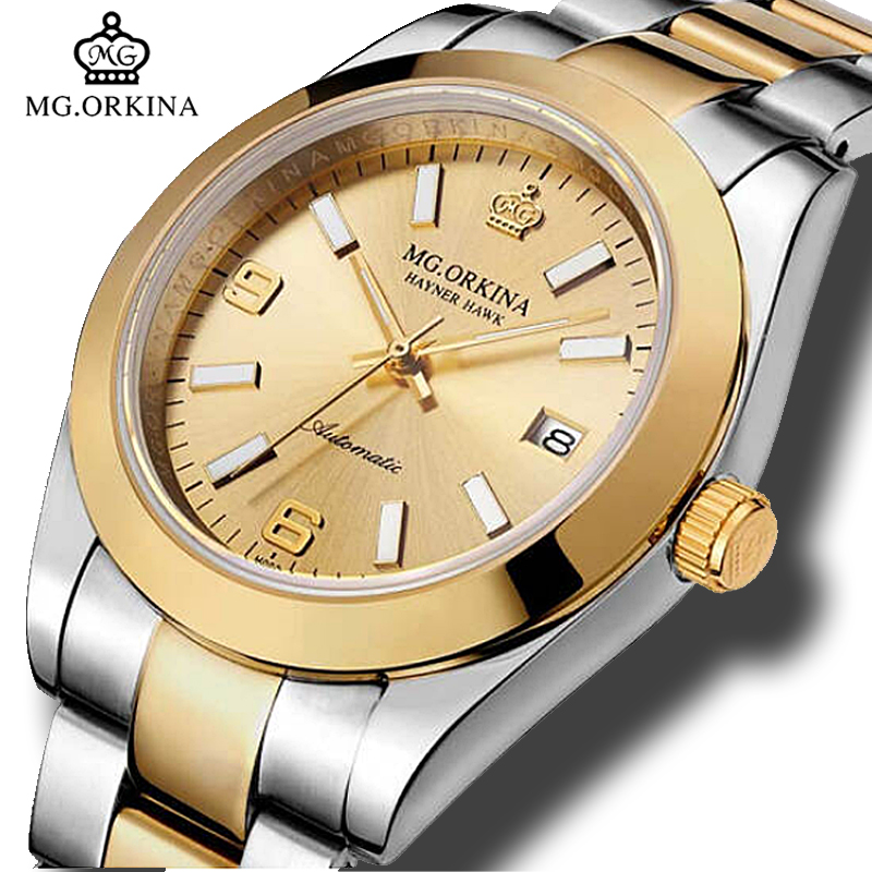 MG.ORKINA Mens Luxury Gold Stainless Steel 316L 40MM Automatic Self Winding Mechanical Watches Waterproof 30M Auto Date Watch цена 2017
