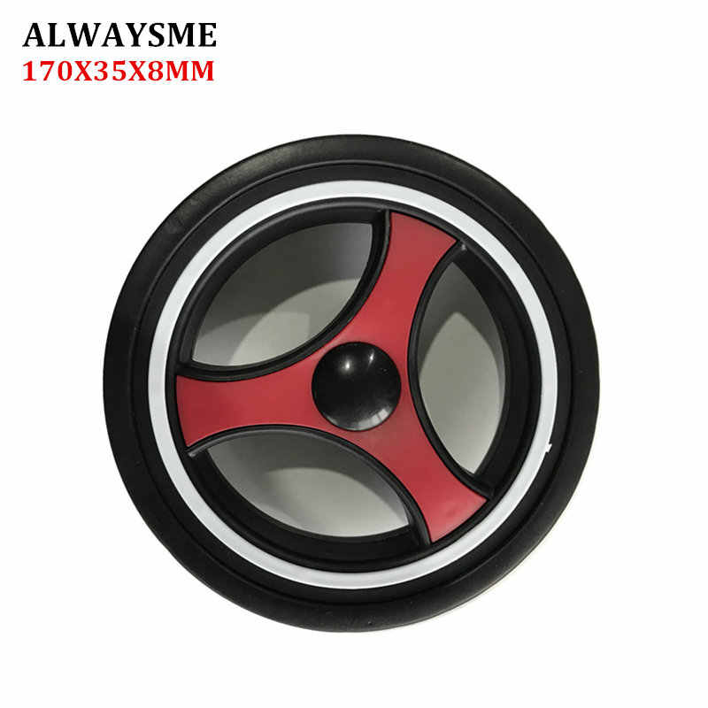 ALWAYSME 1PCS Baby Kids Stroller Replacement Parts Stroller Wheels Universal Front Rear Wheel Diameter 170mm Width 35mm Hole 8mm