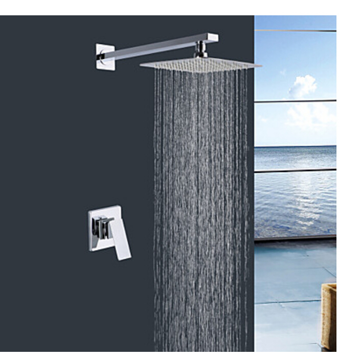 Chrome Brass 8 Square Rain Shower Head Valve Mixer Tap Wall Mounted Shower Tap