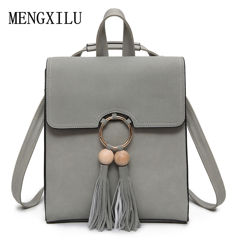 Women Backpack Female PU Leather Mochila Escolar School Bags For Teenagers Women Shoulder Bag Vintage Girls Top-handle Backpacks vintage tassel women backpack nubuck pu leather backpacks for teenage girls female school shoulder bags bagpack mochila escolar