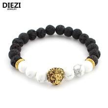 DIEZI Lava Stone Onyx New Buddha Bracelets For Women Gold Lion Jewelry Black Yoga bracelet Men Mujer Pulseras bracelets bangles
