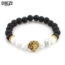 d4042dcdcf72 Diezi lava piedra Onyx nuevo Buda pulseras para mujeres oro León joyería  negro Yoga pulsera hombres mujer pulseras brazaletes