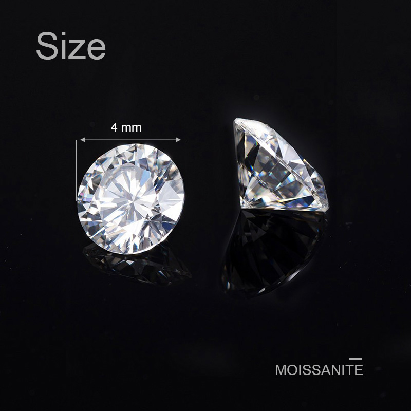 NiceGems Moissanite 0.25CTW Round Excellent Hearts And Arrows Cut Colorless 4MM F Color lab Grown Diamond loose Stone VVS1 1