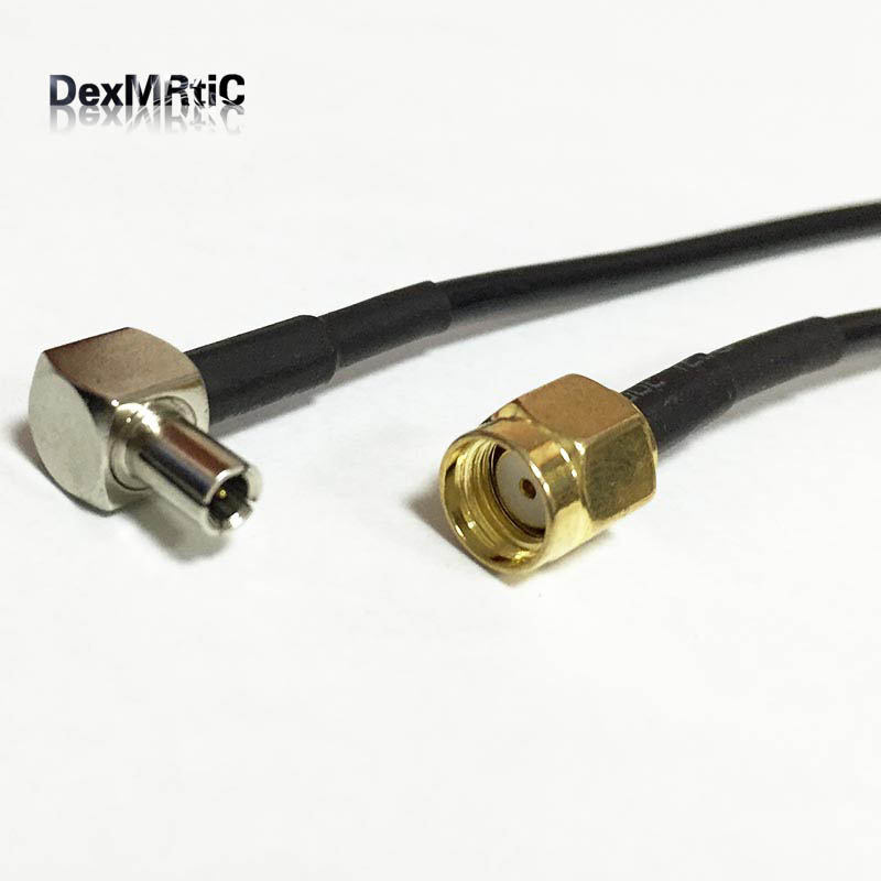 SMA-TS9 Cable TS9 male right angle switch RP SMA male female pin pigtail cable RG174 20cm 8″ black for 3G modem