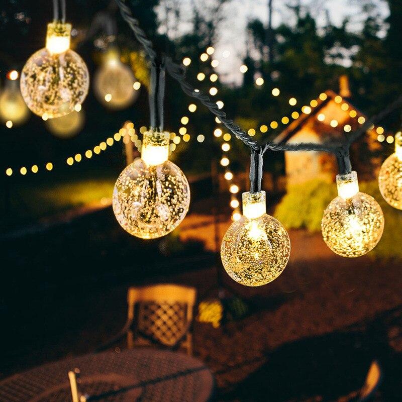 พลังงานแสงอาทิตย์ LED Crystal Ball String Light 10 M กันน้ำไฟ Fairy คริสต์มาสงานแต่งงาน Garland Garden สนามหญ้าตกแต่งต้นคริสต...