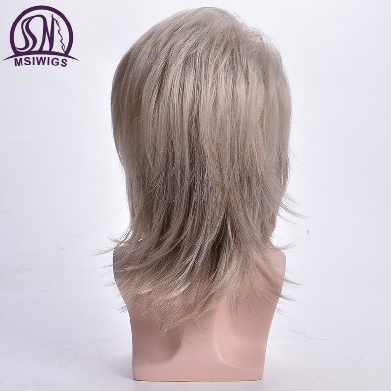 MSIWIGS Men Wigs Straight Synthetic Wigs Long Male Hair Light Blonde Men's Wig with Bangs Heat Resistant Toupee