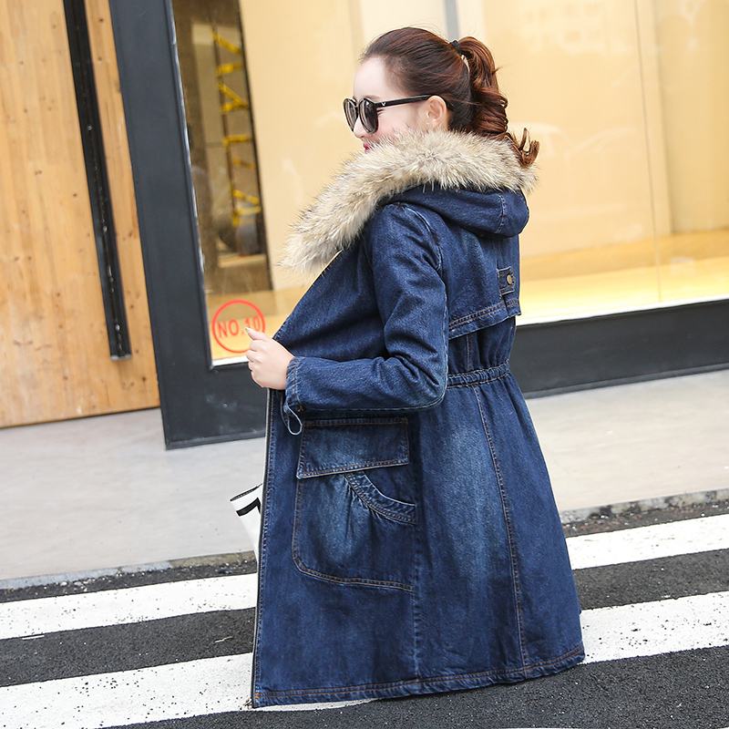 Hot Sale Winter Fur Denim Jacket Women Bomber Jacket Long Sleeve