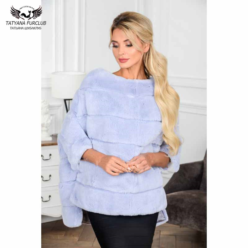 Tatyana Furclub Real Fur Coat Winter Jacket For Women Outwear Fashion Cape Natural Rabbit Fur Jacket Full Pelt Plus Size Parkas