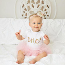 Newborn Baby Girl Birthday Clothes Little Girls 1 year Birthday Party tutu Outfits Kids Dresses for Girls Baby Christening Sets(China)
