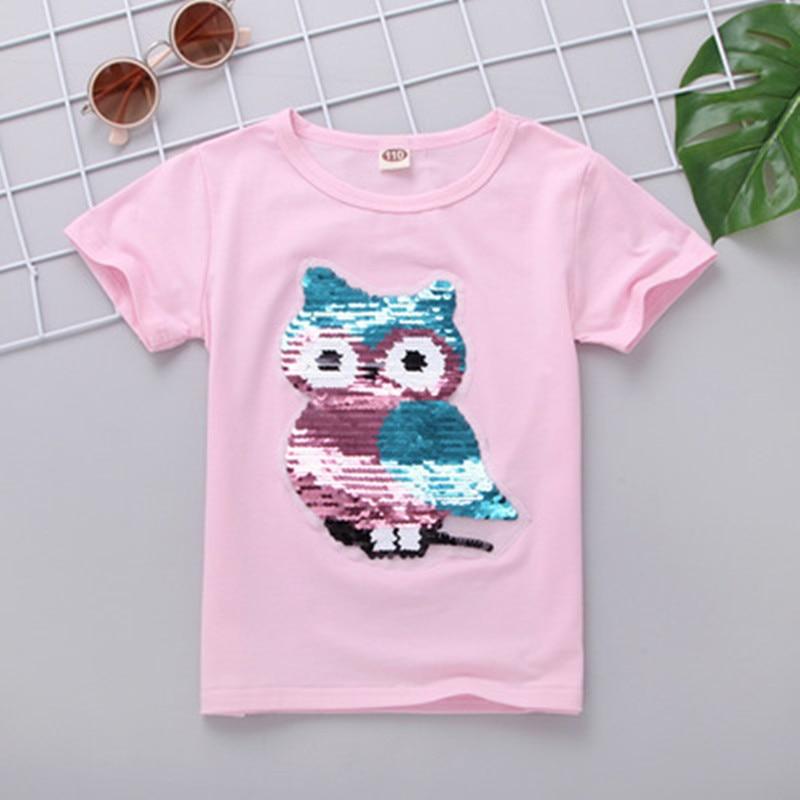 VIDMID Girls T-Shirt Short-Sleeve Sequins Boys Cotton Children Discoloration Summer 7083